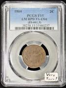 1864 Two Cent Pcgs F-15 Large Motto Repunched Date Fs-1301 Very Rare