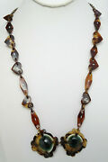 Antique Faux Tortoise W Inlaid Silver, Green Cat Eye Shiva Shell Necklace Hearts