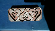 Antique Primitive Tin 3 Double Heart Mold Pan Valentine Biscuit Cookie Cutter
