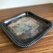 Vintage Reed And Barton Silver Soldered Square Tray 5 1/2 Reticulated