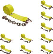 10 Pack 4x 30' Winch Tie Down Strap W/chain Extension For Flatbed Truck Trailer