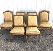 Antique Louis Xvi Dining Chairs Hand Carved With Silk Upholstery - Set Of Six