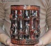 5marked China Dynasty Ox Horn Hand Carved Bamboo Statue Brush Pot Portrait Vase