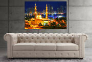 Mosque Muslim Holy Building Temple Skyline Buildings Water Print Canvas Art Home