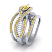 Engagement Ring Wedding Band Set For Women Matching Eternity Band Set For Womens
