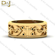 0.08tcw Black Diamond Religious Holy Cross Anchor Wedding Band Solid Yellow Gold