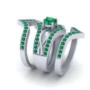 Round Cut Green Emerald 3 Piece Bridal Wedding Ring Set White Gold Promise Rings