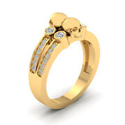 Diamond Skull Wedding Band In Solid Yellow Gold Deathand039s Head Skull Ring Unisex