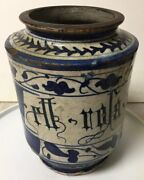 Early Antique Hand Painted Pottery Apothecary Medicine Jar Rll Rola Nir