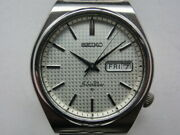 Seiko 6306-8010 Vintage Day Date Silver Wave Ss Automatic Mens Watch Auth Works