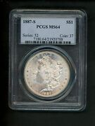 1887-s Us Morgan Silver Dollar 1.00 1 Pcgs Ms64 Choice Unc. White Frosted