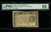 Us Colonial Currency New York Note Fr Ny-188 March 5 1776 1/3 2s8d Pmg 64 Unc