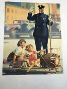 Vtg 1930 Brown And Bigelow Tintogravure High Hattin The Cop Kids W/ Dog On Go-cart