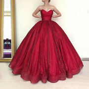 Sweetheart Red Sparkly Glitter Evening Formal Ball Gowns Long Wedding Dresses