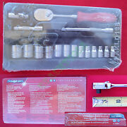 New Snap On 1/4 6 Pts Metric Socket And Red Hard Handle Ratchet 17 Pc Set 117tmmr
