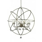 Z-lite Acadia 10 Light Pendant In Antique Silver And Clear Crystal