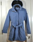 Nwt Womenand039s Calvin Klein Blue Hooded Outerwear Full Zip Jacket Coat Sz Xs S M