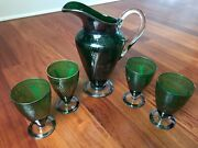 Vintage Ornate Green Art Glass Pitcher And 4 Glasses W/ Silver Overlay