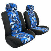 Front Sheepskin Plush Velour Blue Camo Car Seat Covers For Nissan Frontier