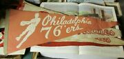 1964 Philadelphia 76ers 30 Basketball Team Pennant Rare Issue Player In Action