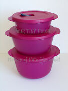 Tupperware Crystalwave Plus Stain Guard Set 3 Round Microwavable Bowls New