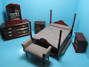 Dollhouse Miniature Wood Bedroom Set Mahogany With Settee Gamf001m Close Out