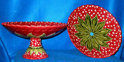 Bordallo Pinheiro Large Pair Of And039lily Of The Valleyand039 Pattern Compotes New