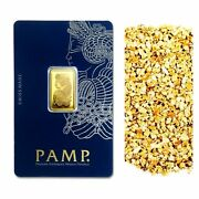 5 G Pamp Suisse .9999 Lady Fortuna Gold Bar + 10 Piece Alaskan Pure Gold Nugs
