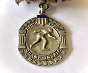 Antique Jewelry Solid Sterling Silver Pendant Medal Signed 1921 Enamel Sports Us