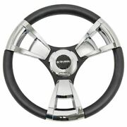 Gussi Model 13 Black/chrome Steering Wheel For Ezgo And Star Golf Carts