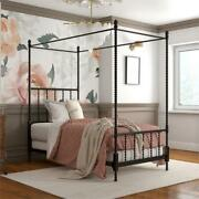 Pemberly Row Metal Canopy Bed In Twin Size Frame In Black