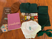 Vintage Girl Scout Brownie Lot Of Badges Patches Pins Uniform Hat Handbook Skirt