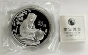1992 Silver China Proof 5oz Lunar 1000 Minted Sealed Year Of The Monkey Coa993