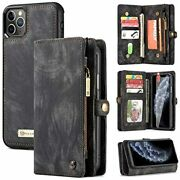 Zttopo Iphone 11 Pro Max Wallet Case 2 In Leather Zipper Detachable Magnetic
