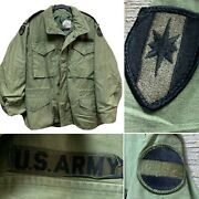 Vietnam 1972 Army Coat Manand039s Cold Weather Og 107 M-65 Field Jacket - Small Short