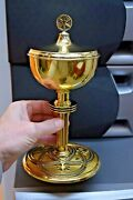 Nice Antique Gold Plated A. Messmer Ciborium 9 3/4 All Sterling Silver Cu406