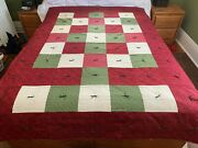 Handmade Holiday Quilt Comforter Red Burgundy Green Ivory Twin/full 61 X 86new