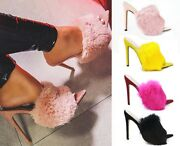 Chic Womenand039s Candy Color Fur Trim Mules Stilettos Pump Sandals Open Toe Slippers