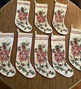 Christmas Stockings Burgundy Pink Green Cross Stitch Berry Poinsettia Lot Of 8