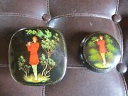 Vintage Russian Hand Painted Black Lacquer Round Trinket Box Ussr Lot Of 2