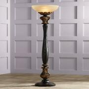 Barnes And Ivy Traditional Torchiere Floor Lamp Carved Wood Amber Glass Shade Fo