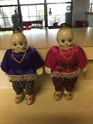 Oriental Asian Set Of Dolls With Porcelain Head,hands,and Feet