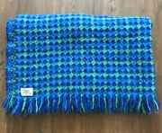 """Vintage Faribo Fluff Loomed 100 Wool Throw Blanket 42""""x52"""" Green Blue Turquoise"""