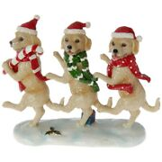 """Raz Imports Dancing Dogs Puppy 11"""" X 9"""" Resin New 3711180 Christmas Golden Lab"""