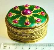 1900s Indian Mughal Era Gem Set St. Silver Box With Rubies And Diamonds