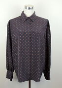 Vintage Charter Club 36 Polka Dot Career Blouse Fits Size Large Gray And Red