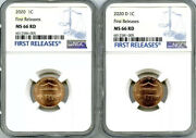 2020 P And D Cent Ngc Ms6 6shield 2 Coin Lincoln Label Set First Releases