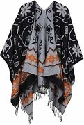 Urban Coco Womenand039s Printed Tassel Open Front Poncho Cape Cardigan Wrap Shawl