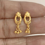 22 Kt Solid Hallmark Yellow Real Gold Screw Back Womenand039s Stud Earrings 2.500 Gms