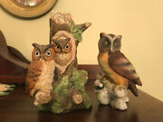 2 Porcelain Horned Owl Figurines Lefton Kw121 And Unmarked Owls On Trunk